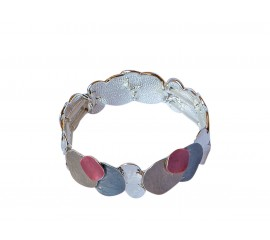 Armband Rhodium Rondjes in Taupe, Plum en Zilver - Chartage
